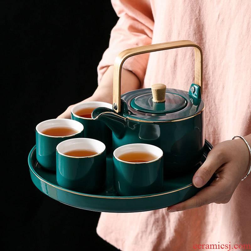 Four - walled yard high - grade paint ceramic teapot household ceramics kung fu tea set tea tea cup gift boxes