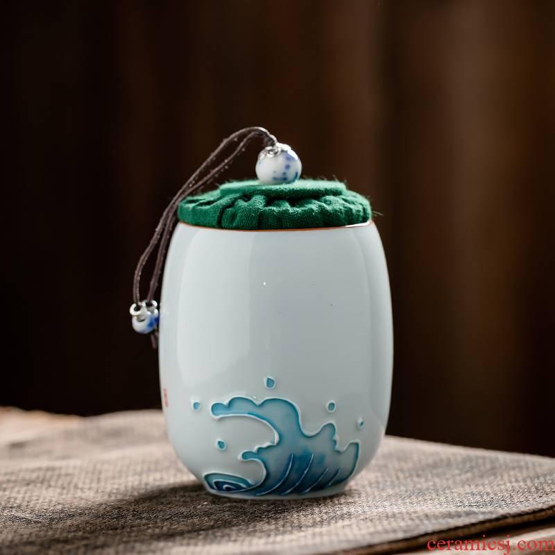 Fujian and portable mini small caddy fixings ceramic seal pot home puer tea POTS storage tank tea warehouse inventory