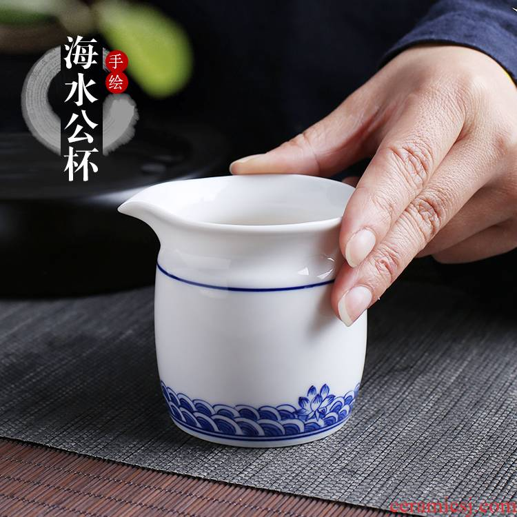 Jingdezhen up the fire which hand made blue and white porcelain tea tea tea set points exchanger with the ceramics fair keller cup and glass