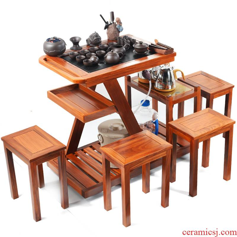 True to Chinese style tea tables and chairs the composite solid wood tea tea kungfu tea set tea tray table household