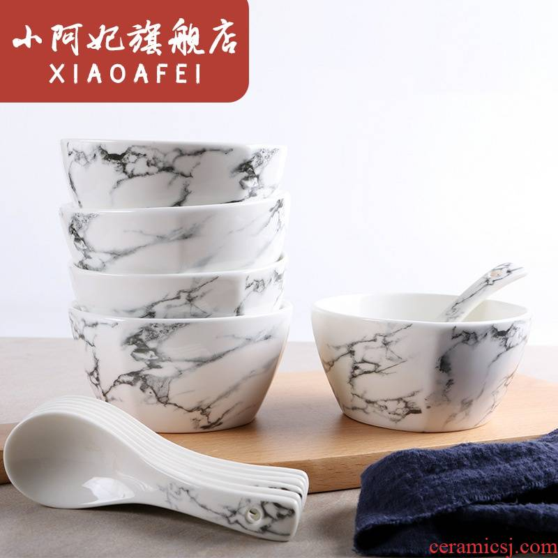 Marble ceramic bowl spoon, creative household gift salad bowl bowl bowl plate suit dishes run out of a suit
