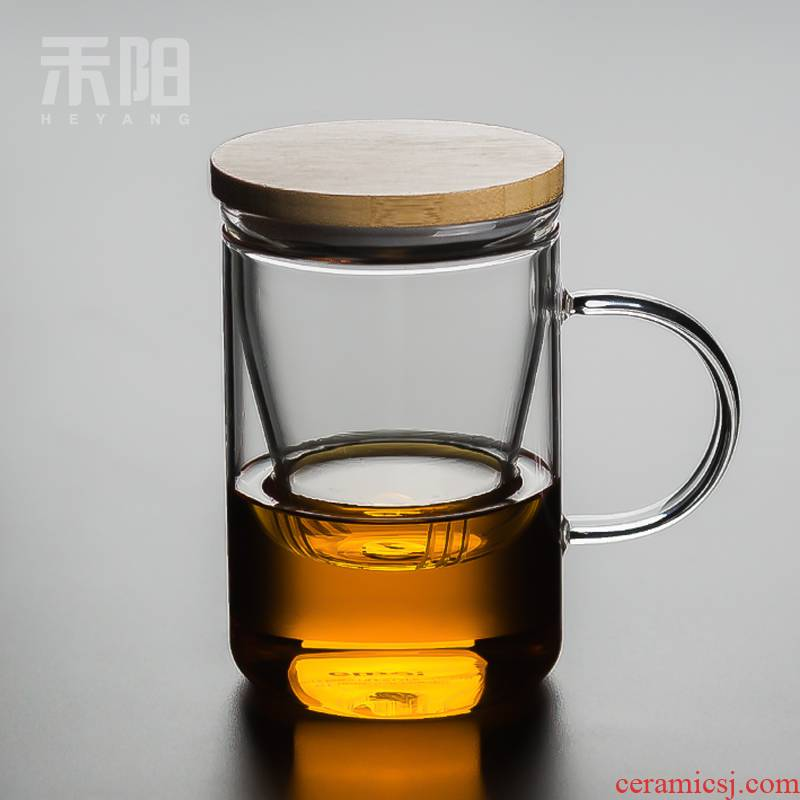 Send YangZhu cover three cups of high temperature resistant glass office tea cup filter household take separate flower tea cups