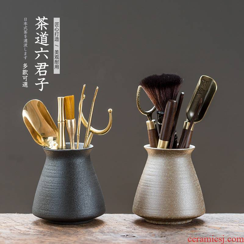 Ceramic 6 gentleman suit teaspoons fittings pure copper ChaGa tea tea brush brush kung fu tea set with zero