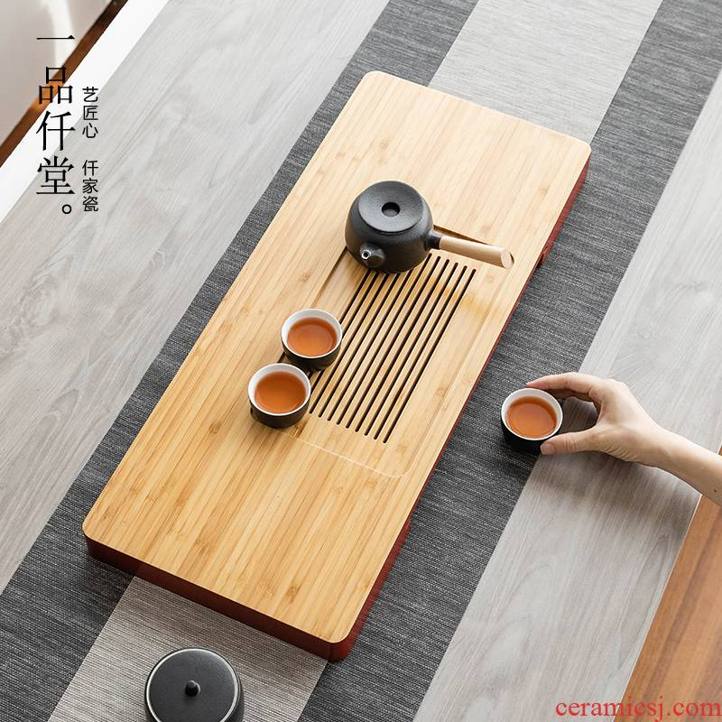 Bamboo yipin micky hall tea tray was dry tea sets of Japanese I and contracted household water storage type rectangular drainage tea sea