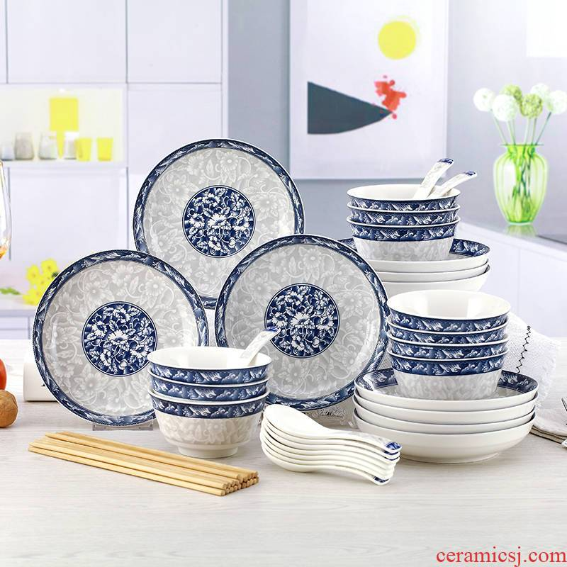 Under the glaze color dishes suit household ceramic dish dish bowl chopsticks combination of blue and white porcelain tableware suit to microwave ovens