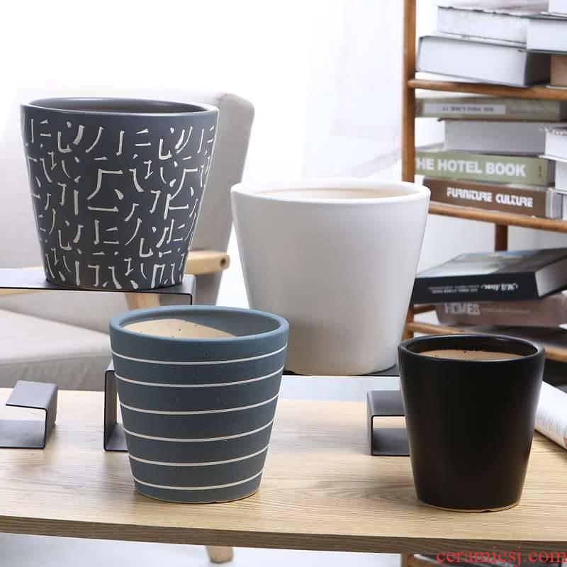 Camellia ceramic flower pot pot size extra large cylindrical high barrel ceramic flower POTS