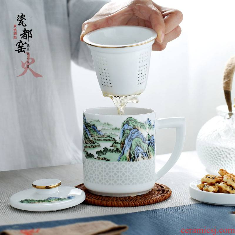 Jingdezhen up the fire which ceramic tea cups separation filter with a lid office home tea cup