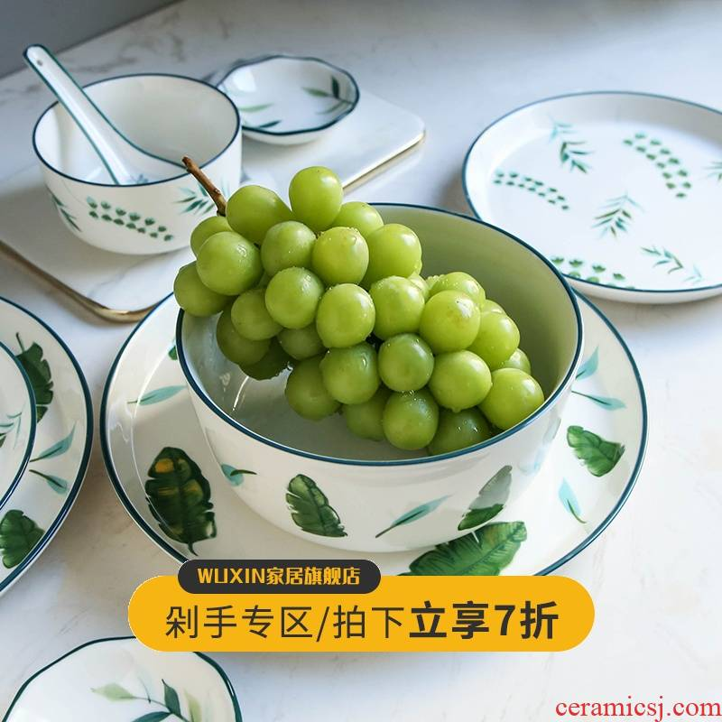 WUXIN creative ceramic bowl large soup bowl Nordic ins household Japanese - style tableware suit contracted dish dish for dinner