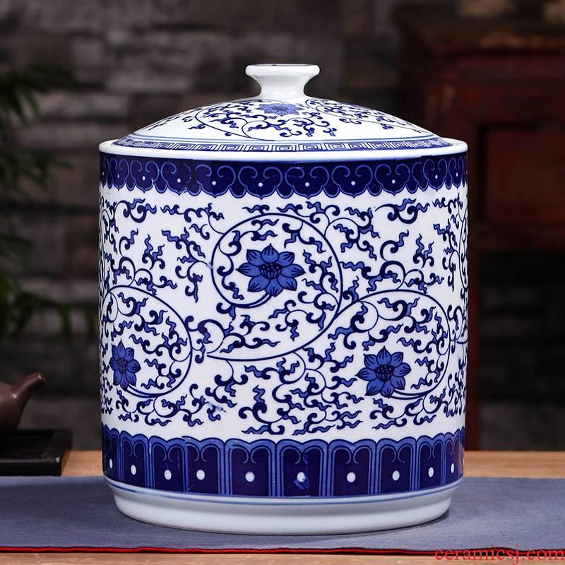 Tea barrel caddy fixings jingdezhen ceramic storage POTS sealed tank size 2 jins home put Tea POTS