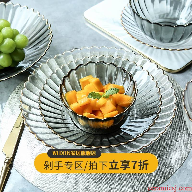 WUXIN Nordic fruit bowl, crystal glass plate creative I sitting room tea table household basin of fruit salad plate
