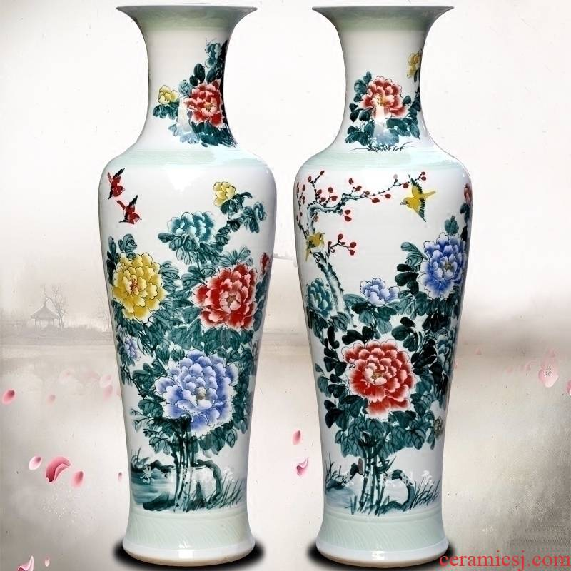 Hand made peony flowers, riches and honour figure of jingdezhen ceramics landing big vase sitting room hotel decoration furnishing articles