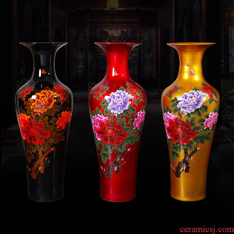 Jingdezhen ceramics of large vase large crystal glaze peony hotel villa sitting room adornment is placed