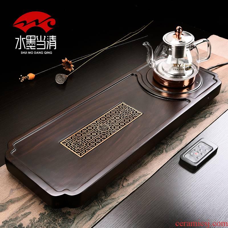 Household ebony blocks triad tea tray automatic induction cooker set solid wood tea table kung fu tea tray