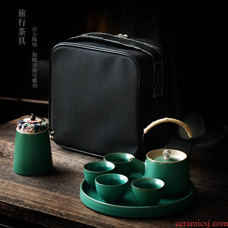 ShangYan portable kung fu tea set suit Japanese teapot teacup dry small tea table of a complete set of contracted travel tea set
