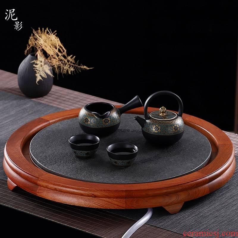 Hua limu round tray was large home sitting room round tea table with small round tea table tray was sharply stone panel