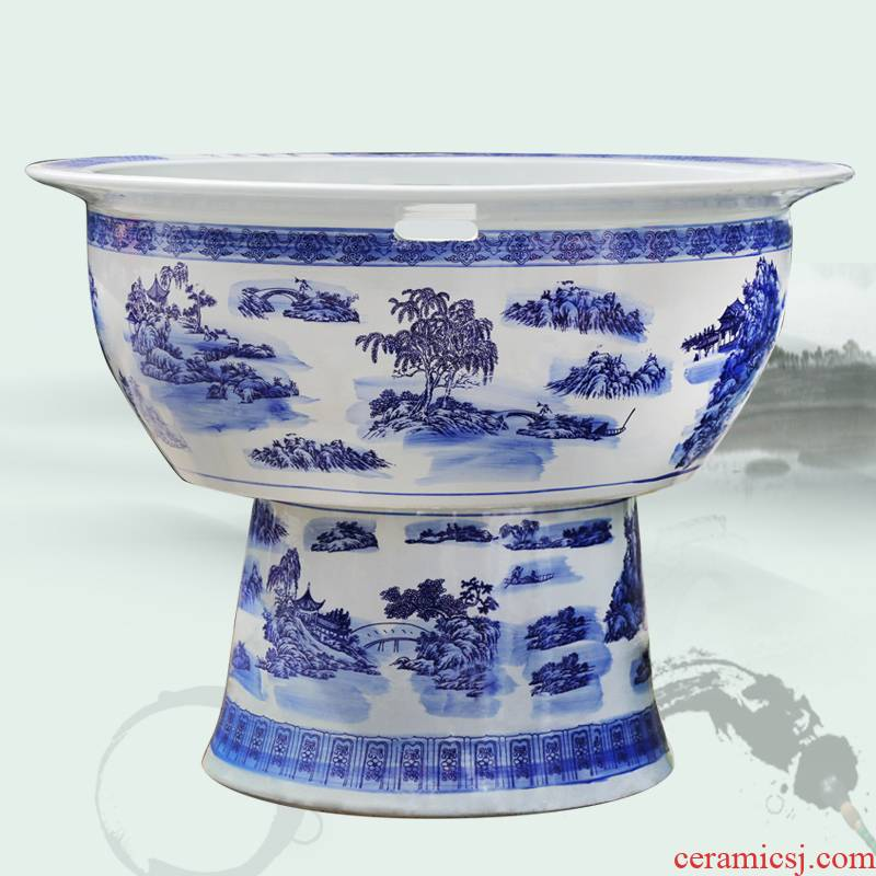 145 blue and white porcelain jar ceramic porcelain jar ceramic aquarium oversized landing a goldfish bowl lotus tortoise cylinder