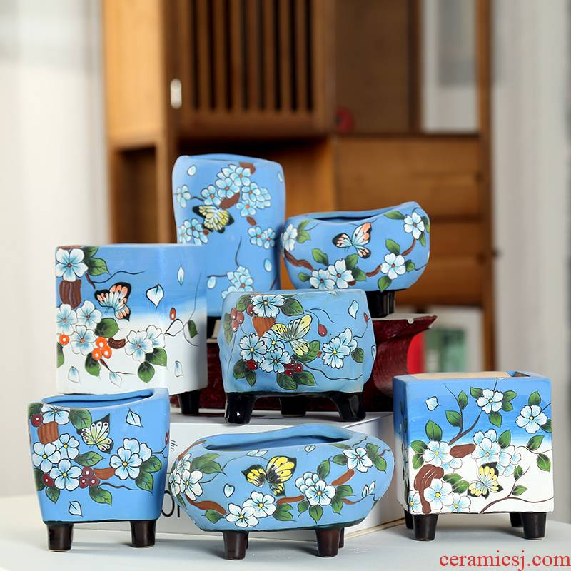 End delay jubilee ceramic meaty plant hand made coarse pottery basin Korean air pot old running of jingdezhen