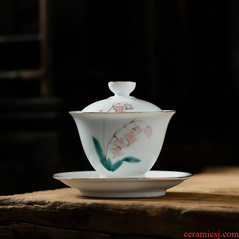 Fujian gen tureen hand - made ceramic cups domestic large Japanese contracted only three cup tea bowl small kung fu tea set