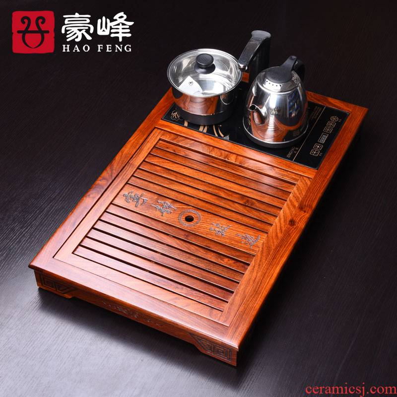 HaoFeng rosewood wood tea tray tea saucer sea drainage tea table set four blocks and electric heating furnace
