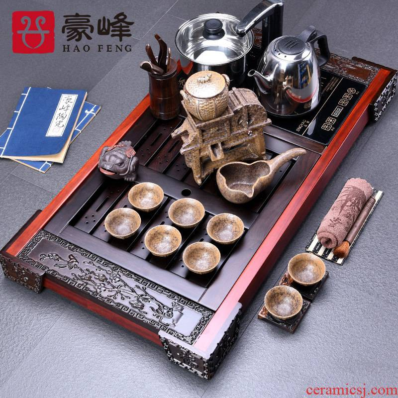 HaoFeng ebony sets celadon of a complete set of tea sets suit ebony wood pallet ground electrical appliances
