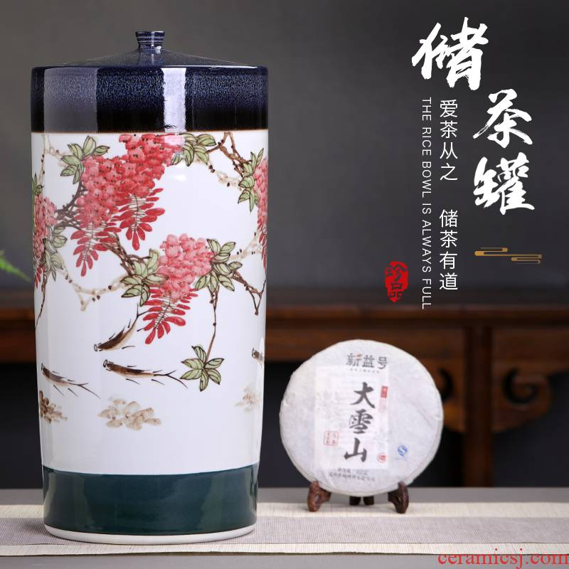 Jingdezhen ceramic tea pot size 20 cake store large heavy pot tea urn detong hand - made puer tea cake