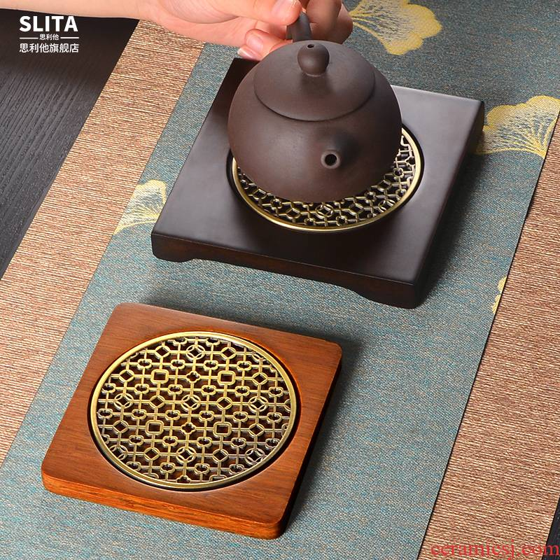 Solid wood tea tray MATS supporting the teapot tea mat bamboo tea utensils insulated tea accessories tea pot of bearing dry mercifully machine