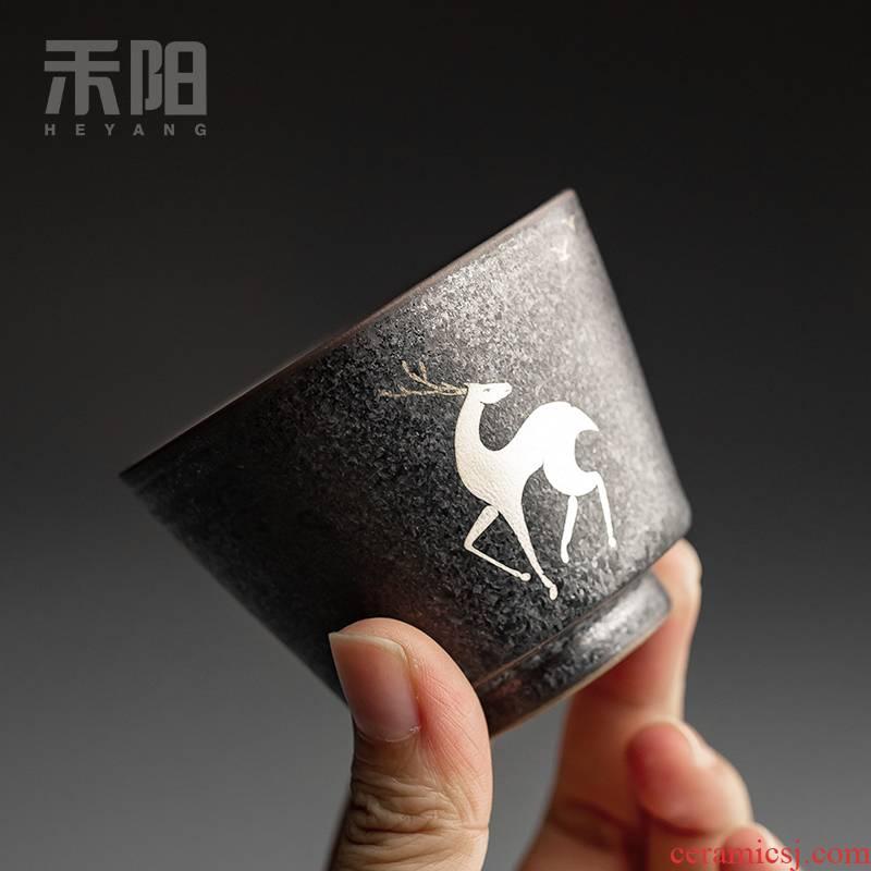 Send Yang vintage silver spot glaze ceramic cups household kung fu tea set single CPU elk master cup sample tea cup tea bowl