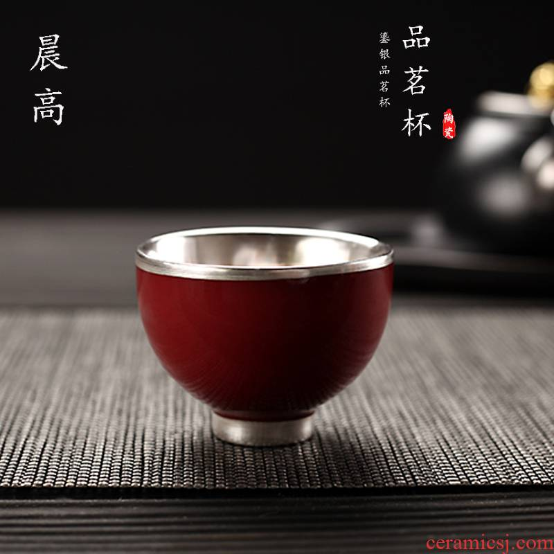 Morning high manual 999 sterling silver cup coppering. As silver personal cup master cup sample tea cup kung fu tea cups ceramic bowl with restoring ancient ways