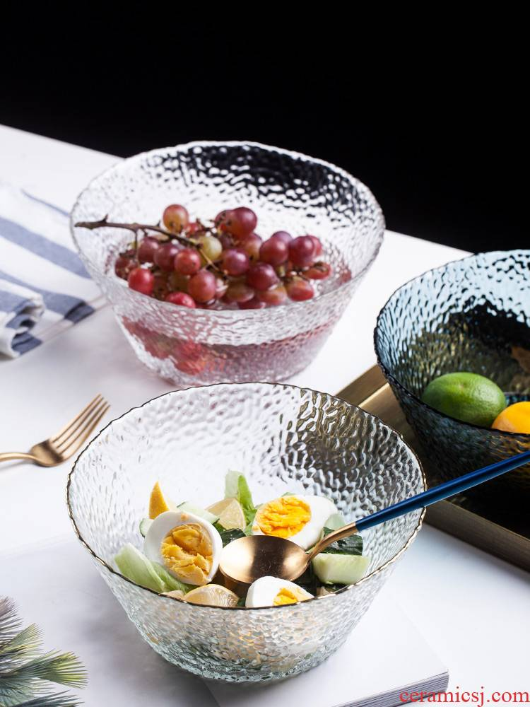 Nordic transparent glass salad bowl creative move household large single dessert fruit bowl of Japanese dishes