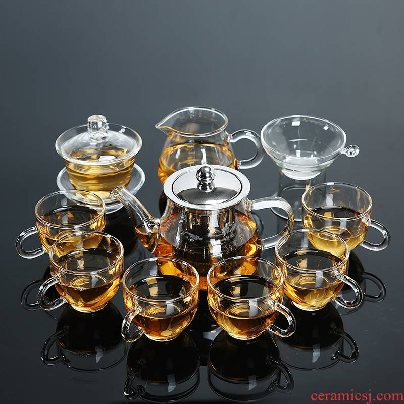 Transparent kung fu tea cup teapot glass tea set suit household double - layer cup of black tea tea to implement a complete set of the teapot