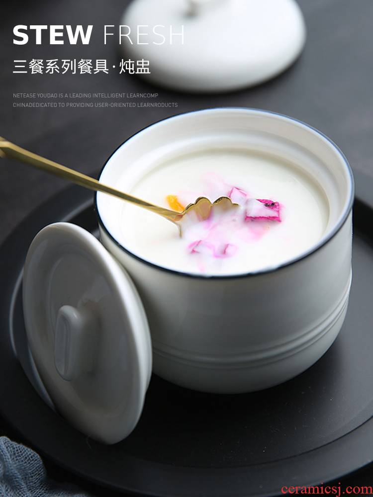 Jing tang bird 's nest ceramic stew stew waterproof double cover with small tank cover pot soup cup pure white stew pot