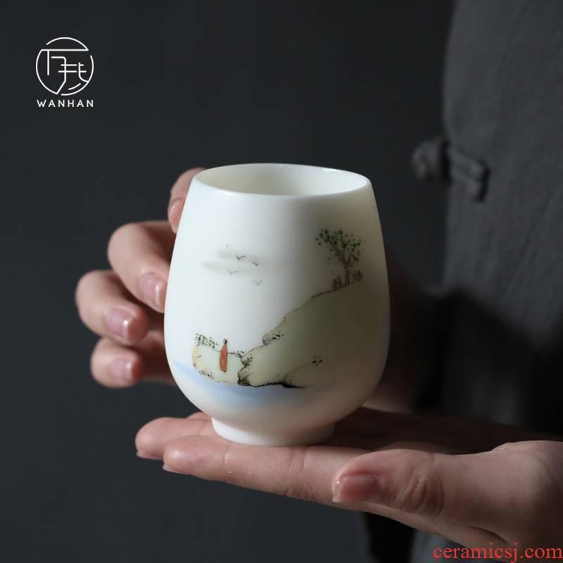White porcelain pure manual hand - made teacup biscuit firing dehua up household kung fu tea cup ceramic sample tea cup master CPU