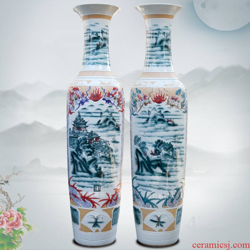 Carved dragons and phoenixes splendid sunvo colorful large vases, jingdezhen blue and white porcelain ceramics sitting room furnishing articles