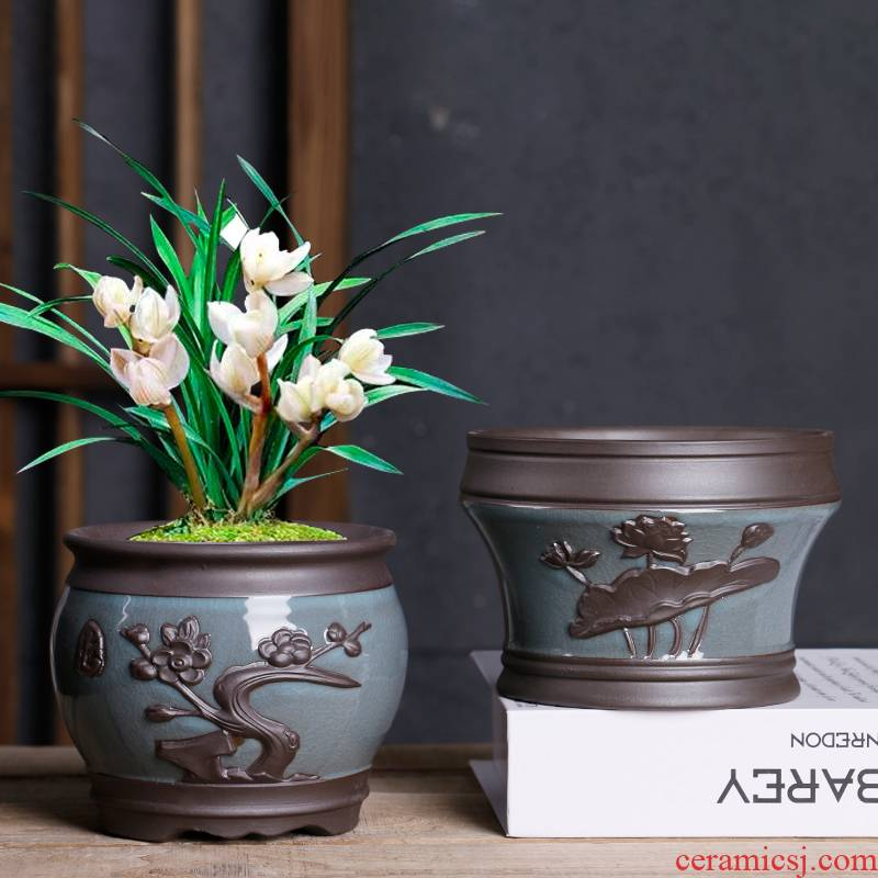 The Fleshy flowerpot brother ceramic up with special offer a clearance package mail creative move contracted coarse pottery ventilation butterfly orchid flower pot