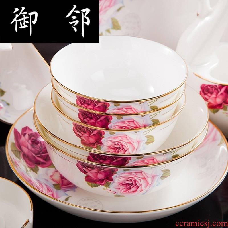 Propagated jingdezhen Chinese manual paint cutlery set bowl chopsticks combination of wedding gift set