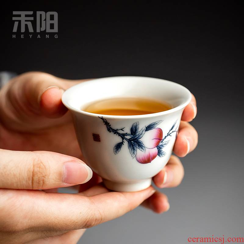 Send Yang ceramic cups single cup tea bowl sample tea cup Chinese style restoring ancient ways your up peach master kung fu tea cups