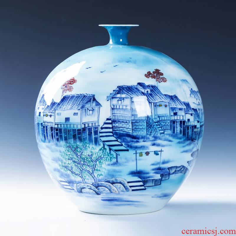 Jingdezhen ceramics hand - made home sitting room TV ark adornment of new Chinese style of blue and white porcelain vase flower arranging furnishing articles