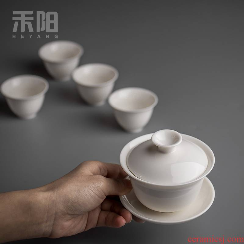 Send Yang dehua white porcelain tureen kung fu tea set ceramic bowl three tureen tea cups of household size