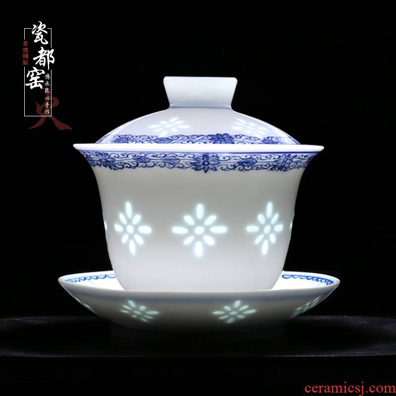 Jingdezhen up the fire which is hand draw three GaiWanCha only blue and white and exquisite porcelain cup single tea bowl of kung fu tea set