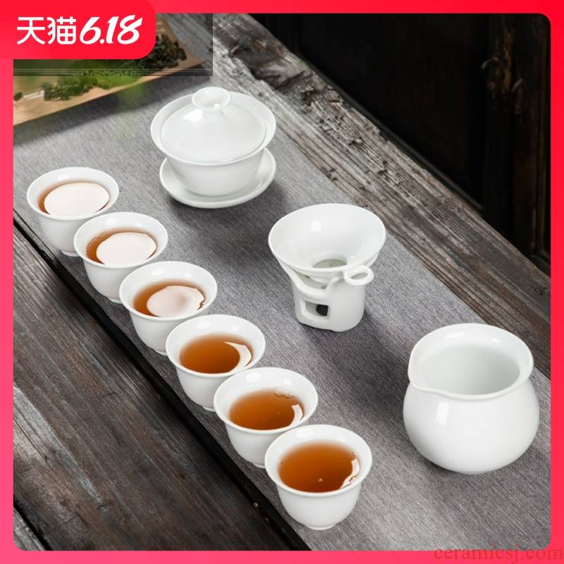 Hold to guest comfortable white porcelain kung fu tea sets special promotional advertising gifts holiday business gifts