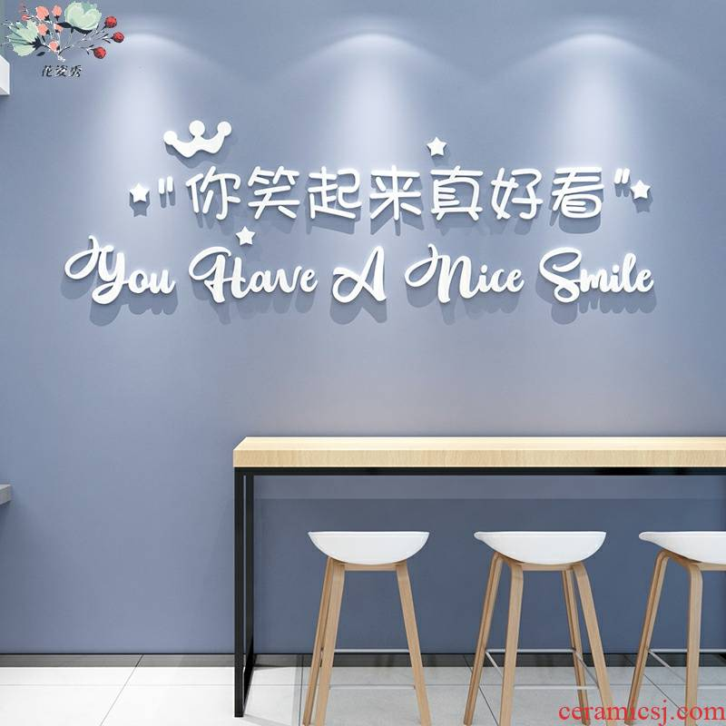 Web celebrity word wall stickers 3 d stickers painting creative clothing milk tea shops bar set background wall decoration