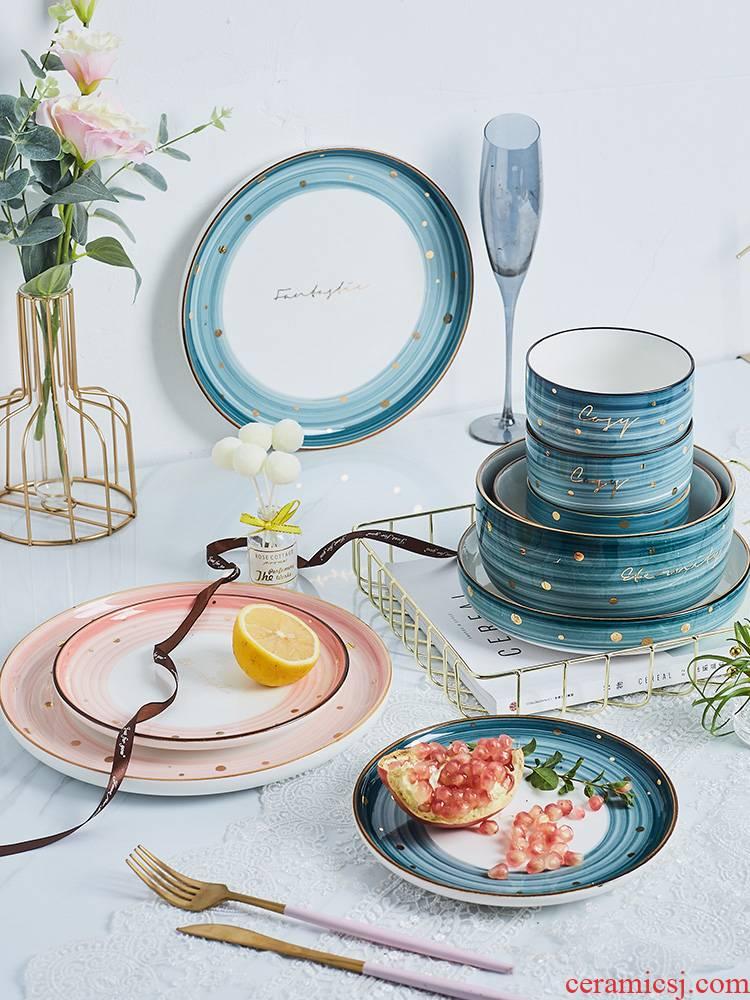 Nordic light key-2 luxury ceramic household food dish creative web celebrity ins plate suit steak dish food dish u.s but elegant