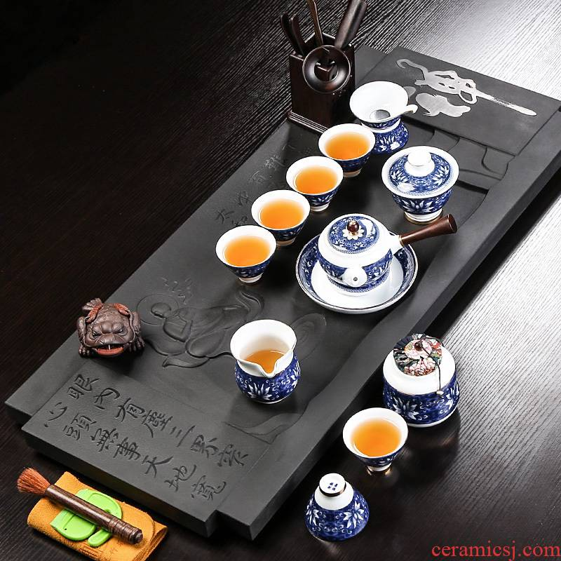 Kung fu tea set creative household large sharply stone 6 Chinese tea tray cups suit contracted office restoring ancient ways