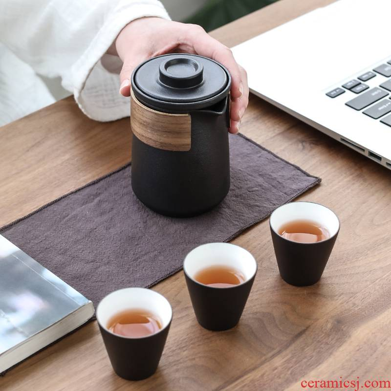 Poly real (sheng, black pottery to crack a pot of hot ceramic prevention three glass portable travel kung fu tea set contracted