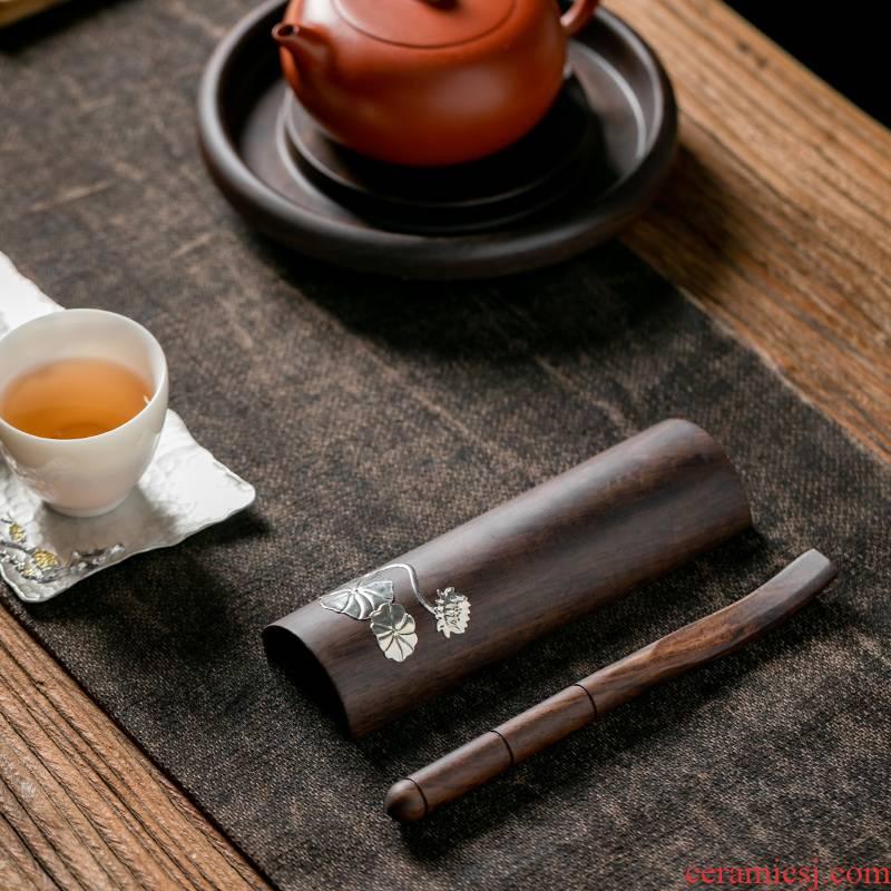 Fujian and ebony wood is TSP manual creative tea tea tea accessories household kung fu tea tea spoon tea holder