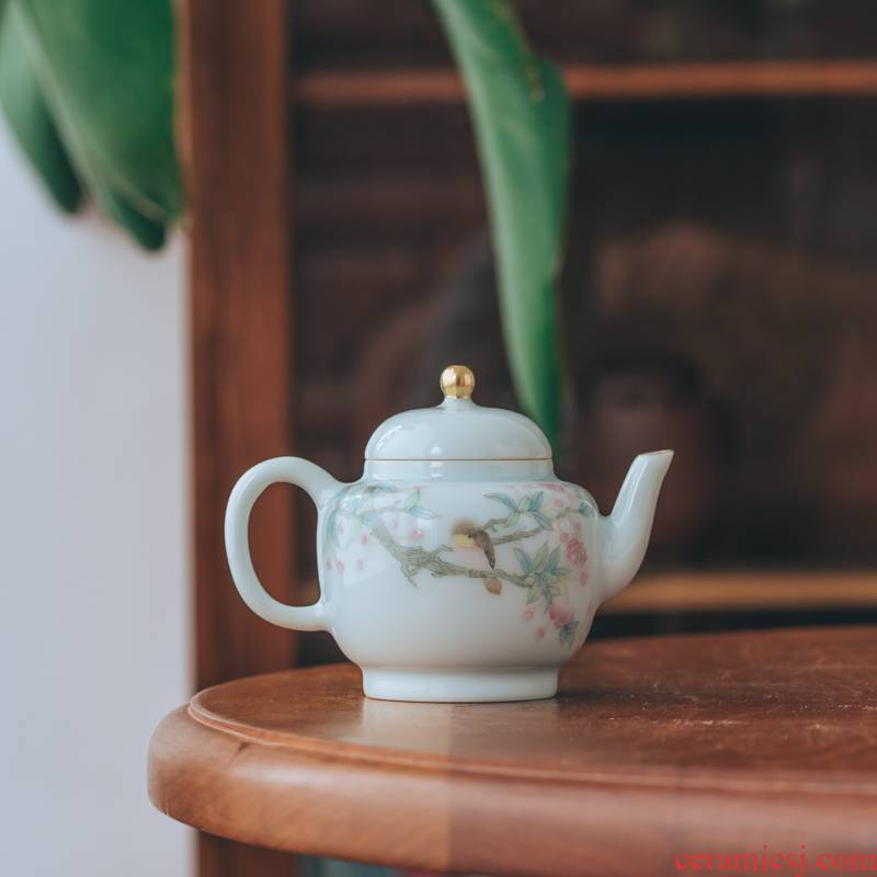 Get in gas up haitang flowers and birds, small palace the lantern hand - made 100 ml of jingdezhen high - temperature white porcelain kung fu tea set