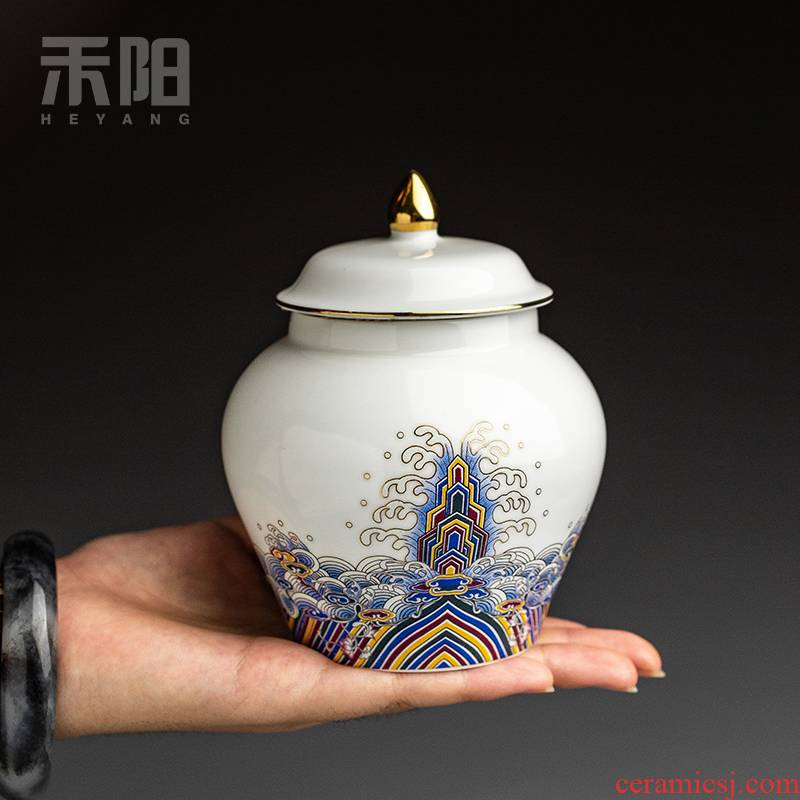 Send Yang colored enamel caddy fixings ceramic small store receives household seal pot of tea tea pot tea box