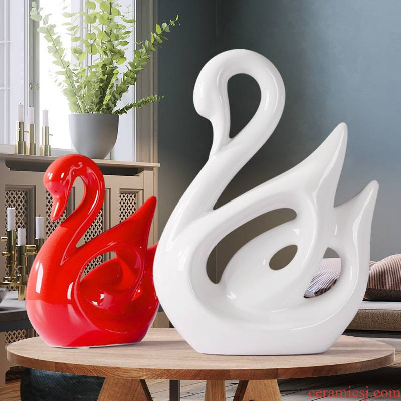 The Modern home decoration ceramics magenta red wine TV ark, white swan, creative the sitting room porch place