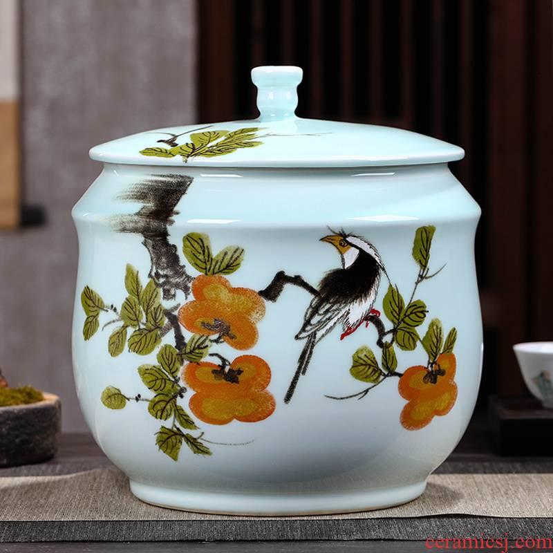Jingdezhen porcelain tea pot, storage tank is the seventh, peulthai the large - sized ceramic jar with cover seal pot moistureproof puer tea cake