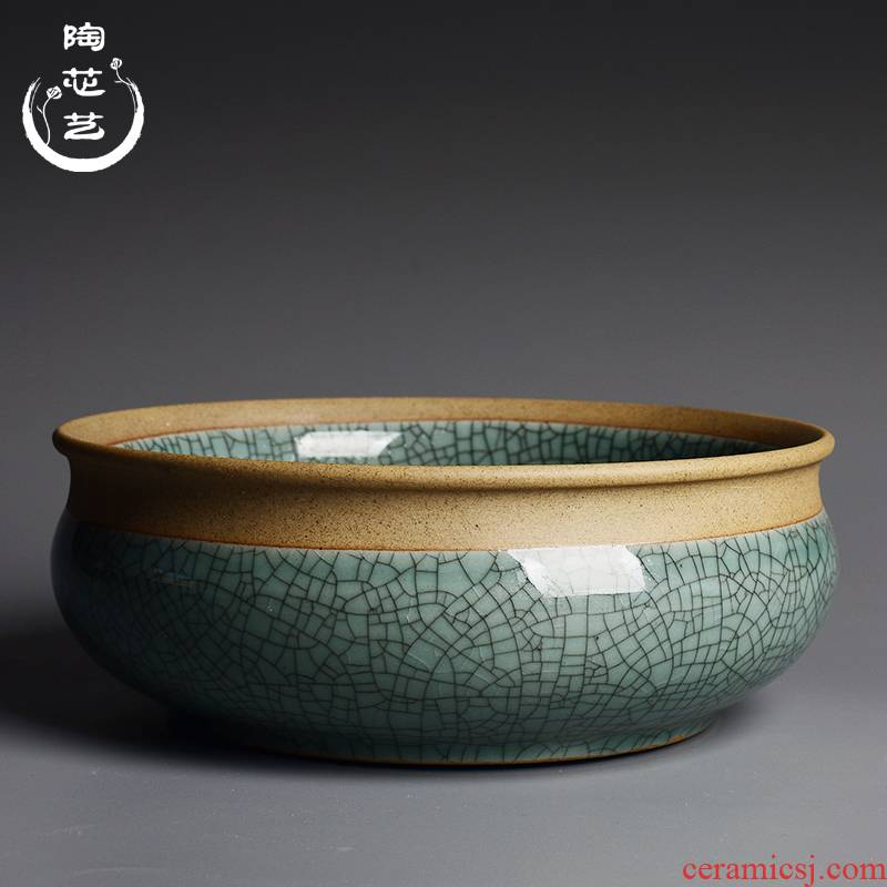 Coarse TaoGe up slitting circular nonporous large refers to flower pot creative ceramic basin water raise money plant withered lotus, fleshy